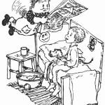 """Иллюстрации И. Викланд к сказке """"Карлсон,который живет на крыше""""."""