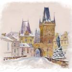 Акварель.Зима.Прага.Карлов Мост.