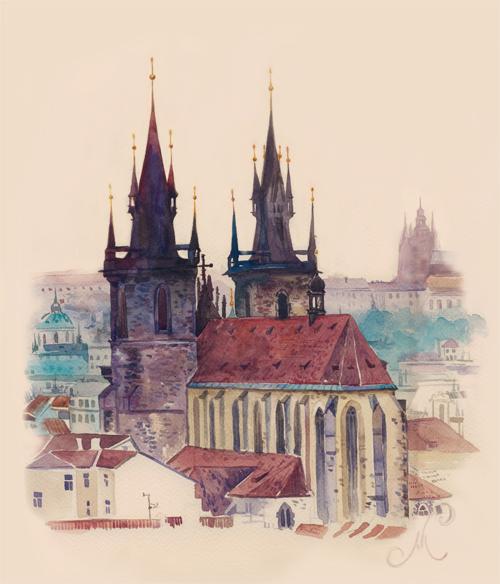 Городской пейзаж.Прага.