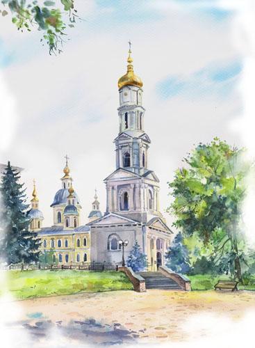 Успенский собор.акварель городской пейзаж