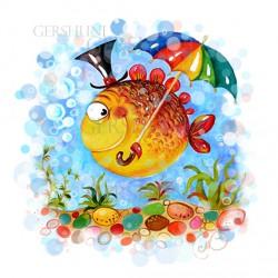 Рыбка под зонтом